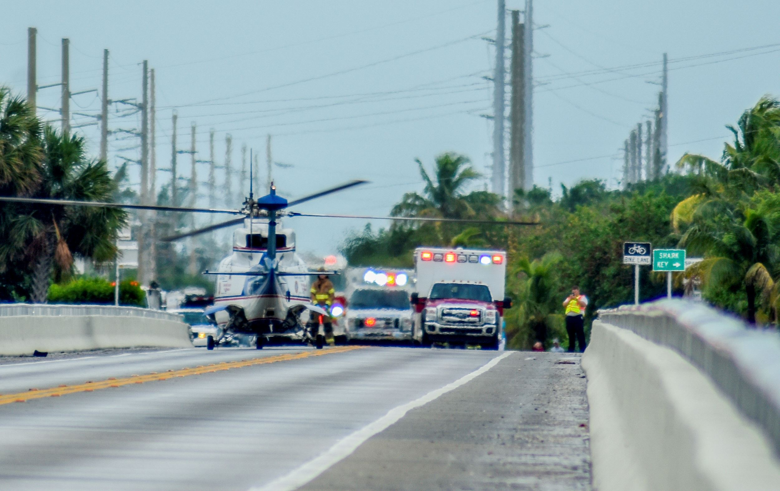 Trauma Star helicopter at a bridge accident
