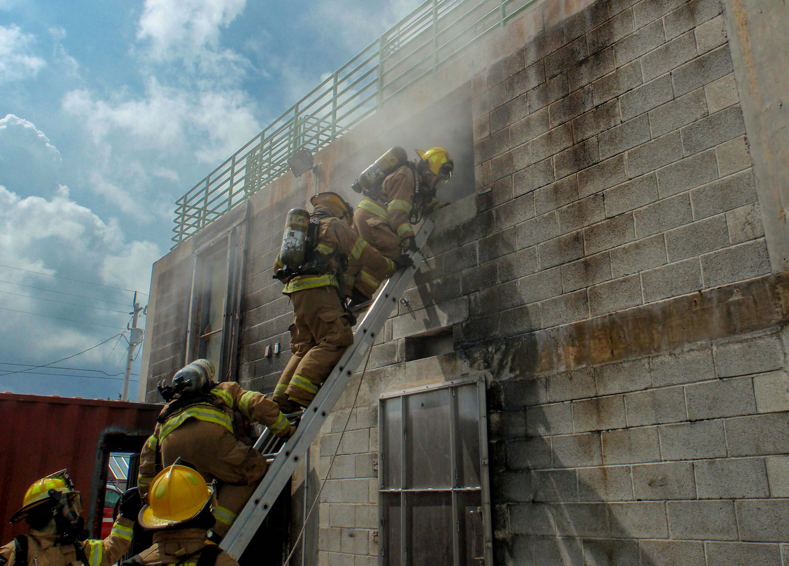 People training to become firefighters at Joe London Fire Rescue Training Academy LR-4