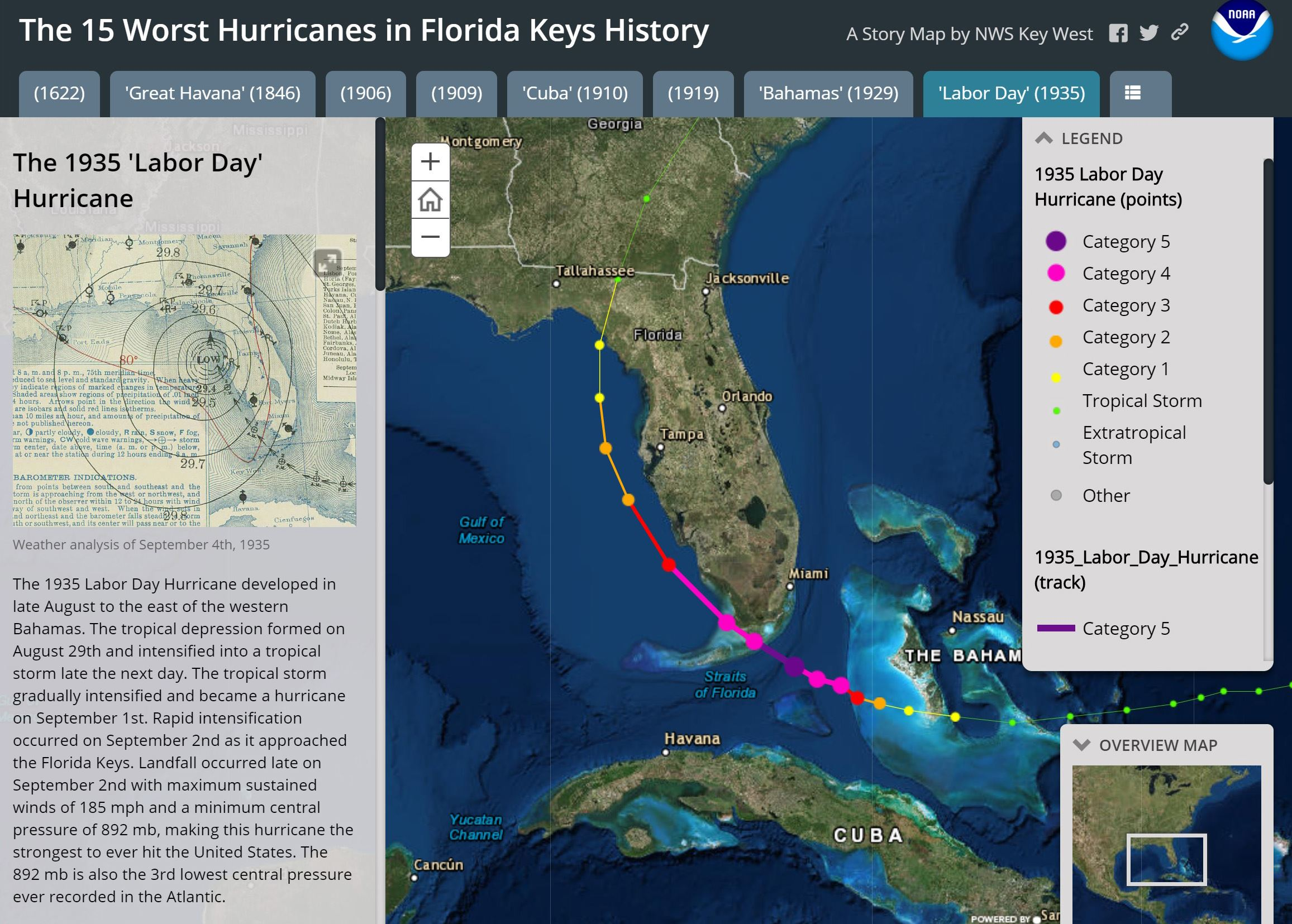 Photo of NOAA's Labor Day Hurricane Page of 15 Top Hurricanes in the Keys